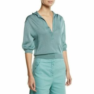 NWT Tibi Cropped Rugby Sleeve teal knit sweater